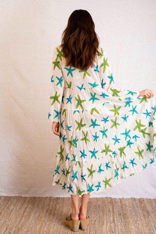 vestido verano 100% algodón comercio justo estrellas del mar