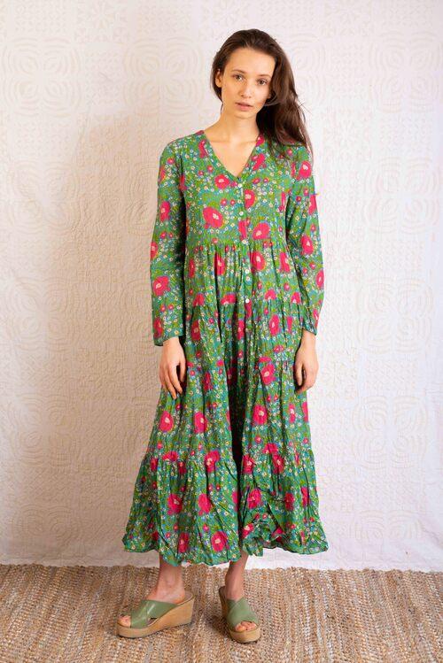 vestido verano 100% algodón comercio justo flores