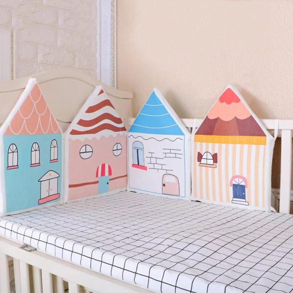protector de cuna y cama casita colores rosa y azul